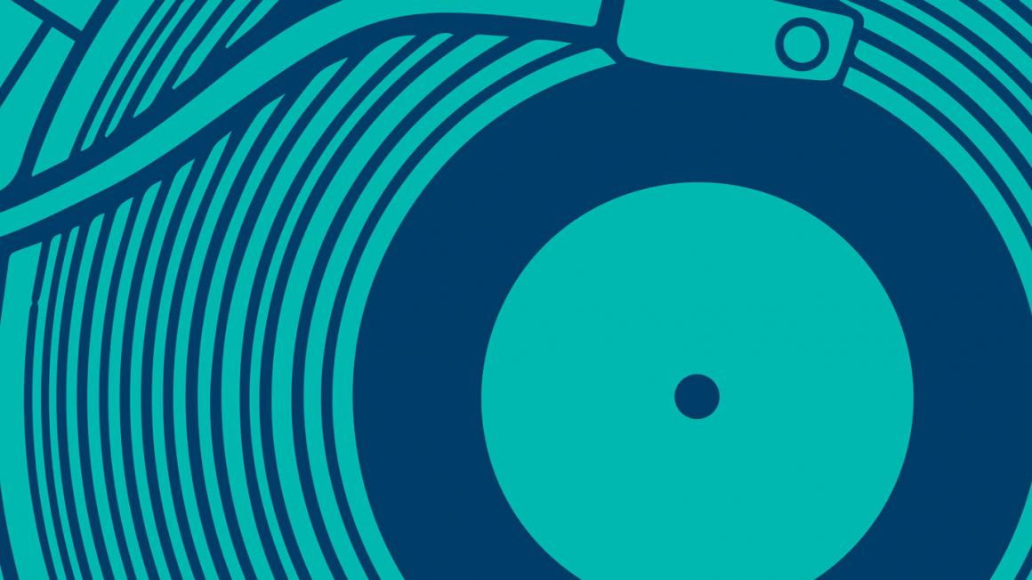 Aqua and blue graphic of a record being played on a record player.