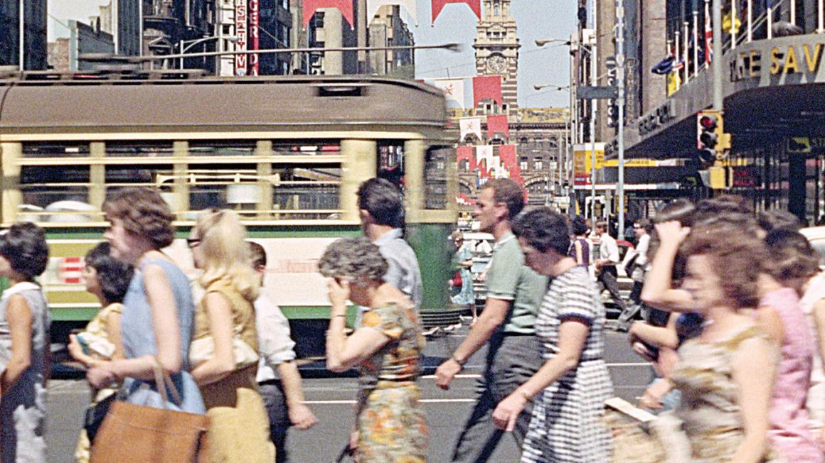 Street view of Melbourne in the 1960s
