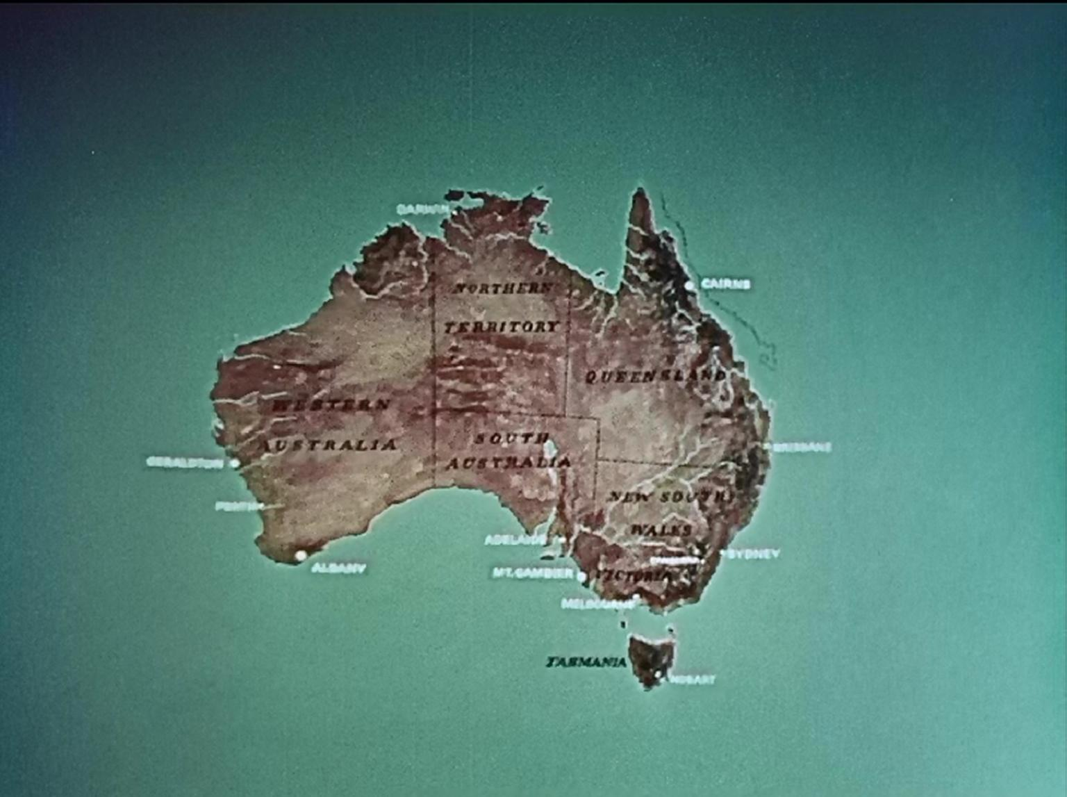 Map of Australia, showing names of its capital cities, regional centres, states and territories