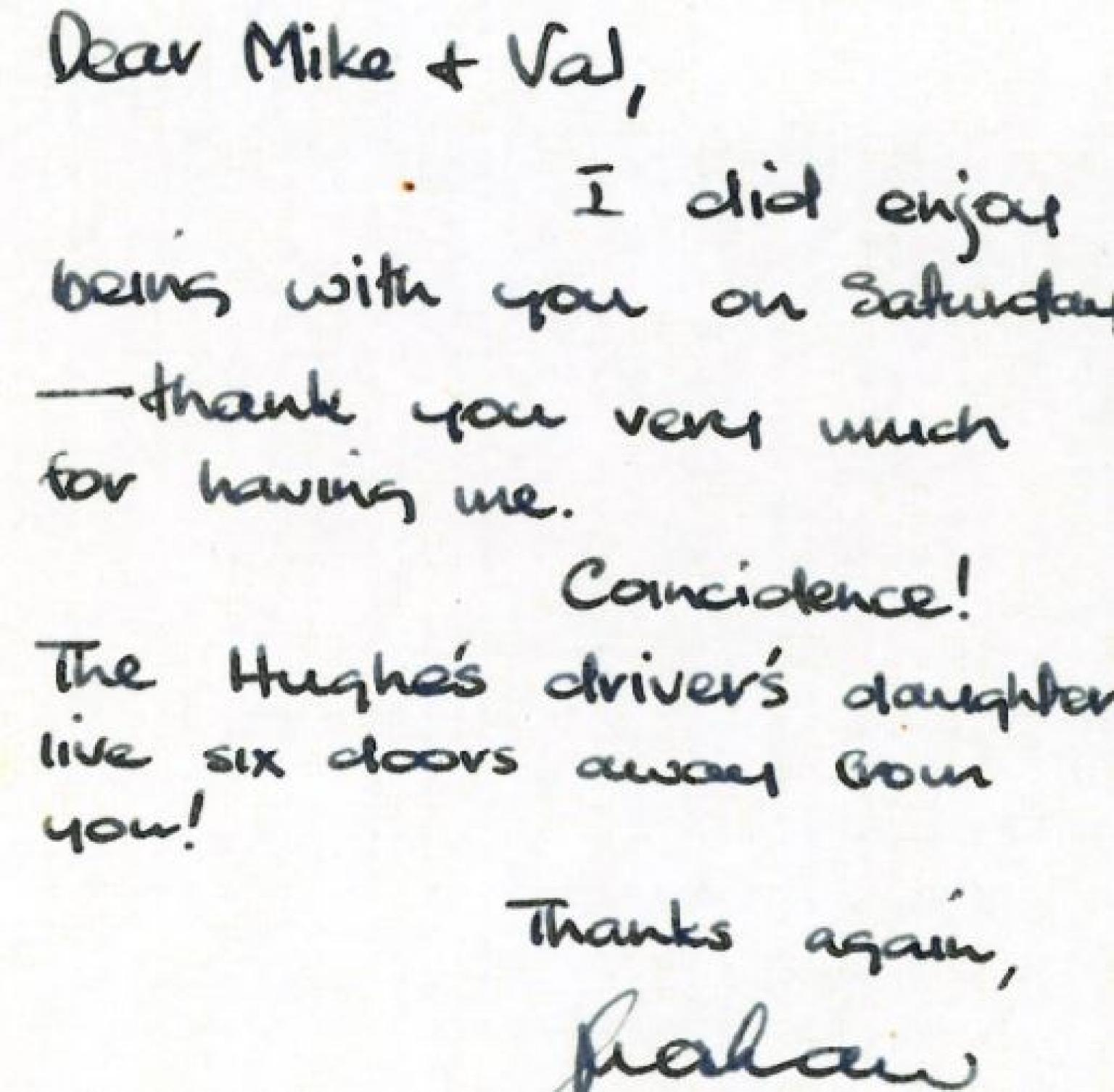 Handwritten thank note from Graham Kennedy to Mike and Val McColl Jones