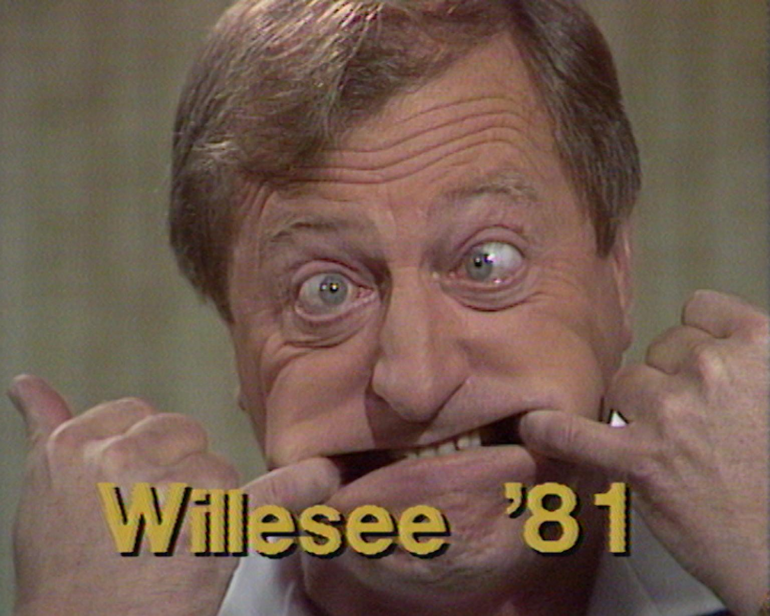 Graham Kennedy with fingers pulling his mouth to the side and the words Willesee '81 across the screen