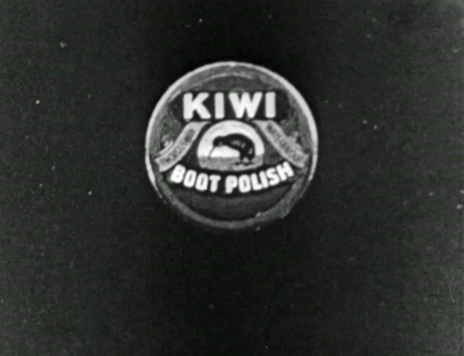 Logo for the brand Kiwi boot polish showing the brand name and an image of a kiwi in the centre.