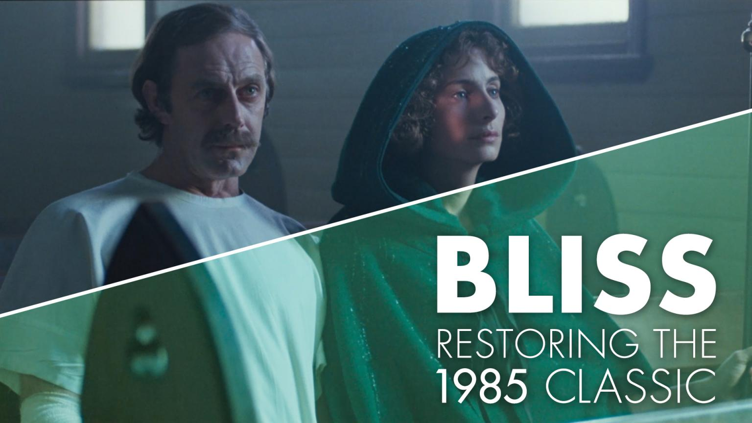 A split screen showing the film Bliss before and after restoration