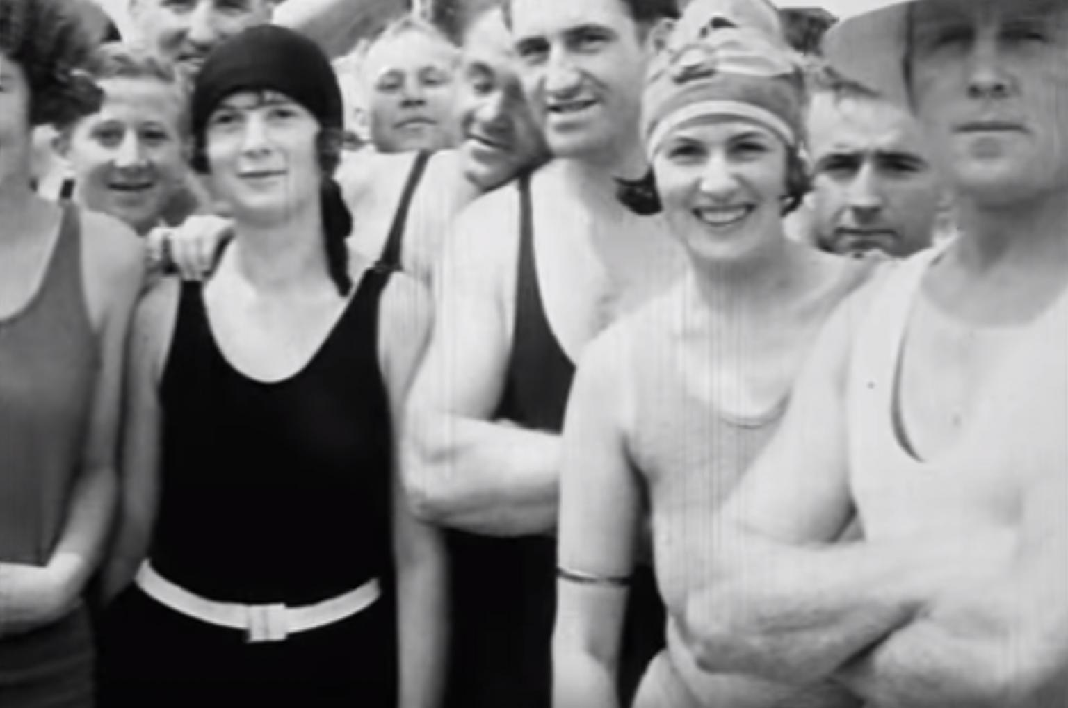 A group of swimmers at Bondi Beach in 1926, looking at the camera