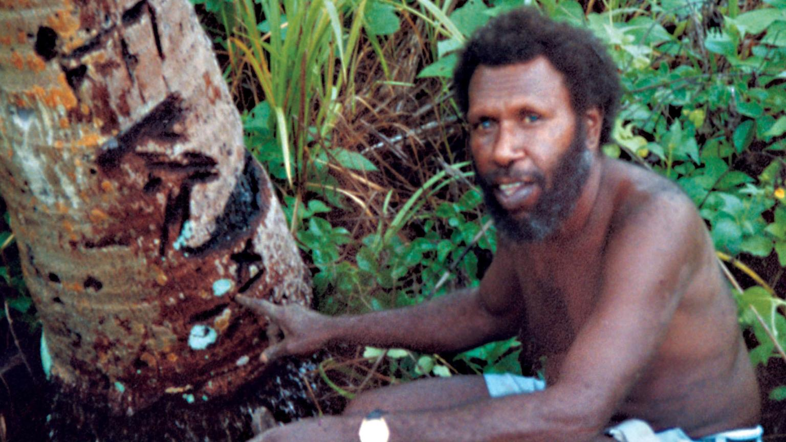 Eddie Koiki Mabo surrounded by a tree and plants in a garden.