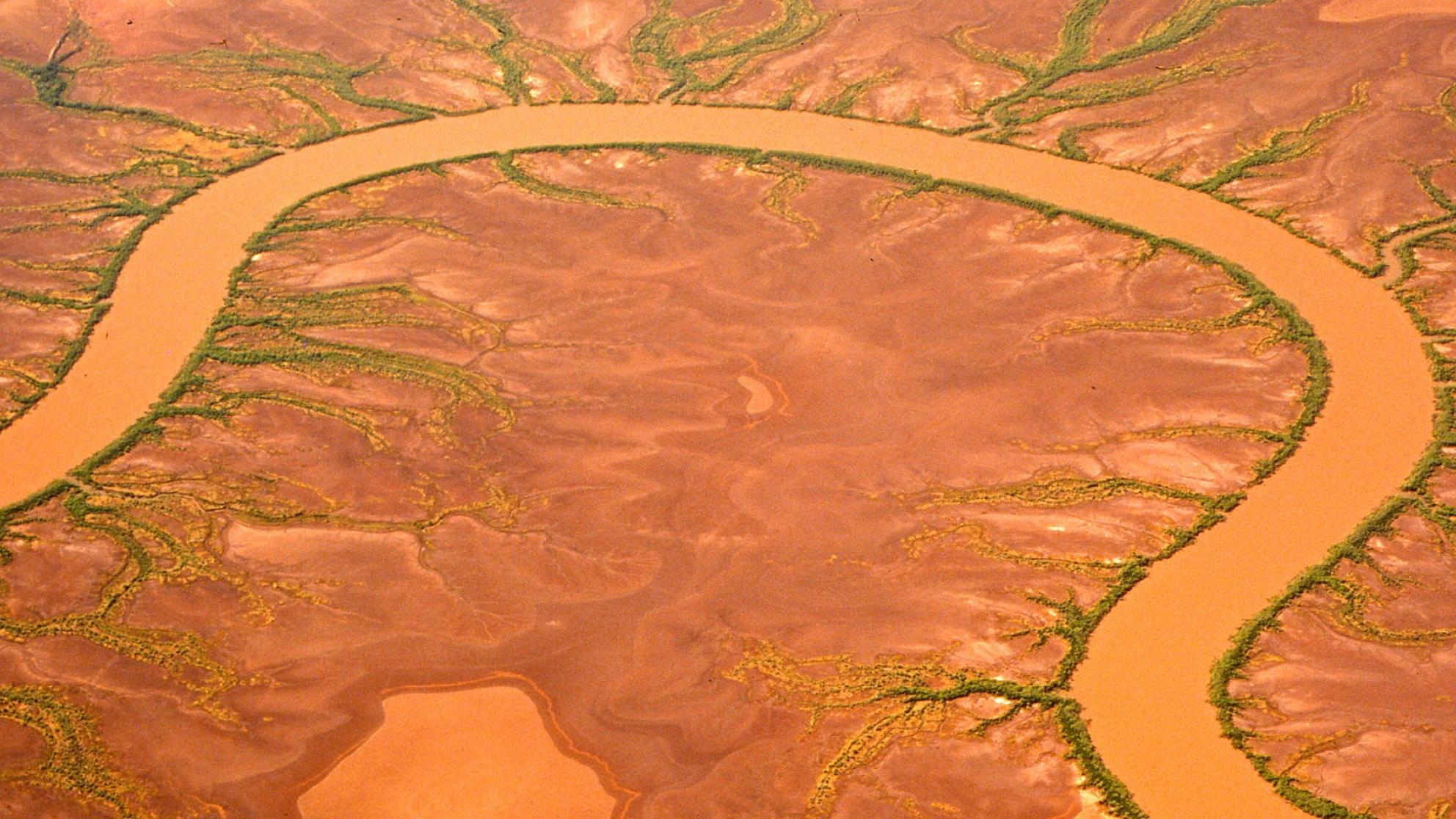 Aerial view of Australian desert with river
