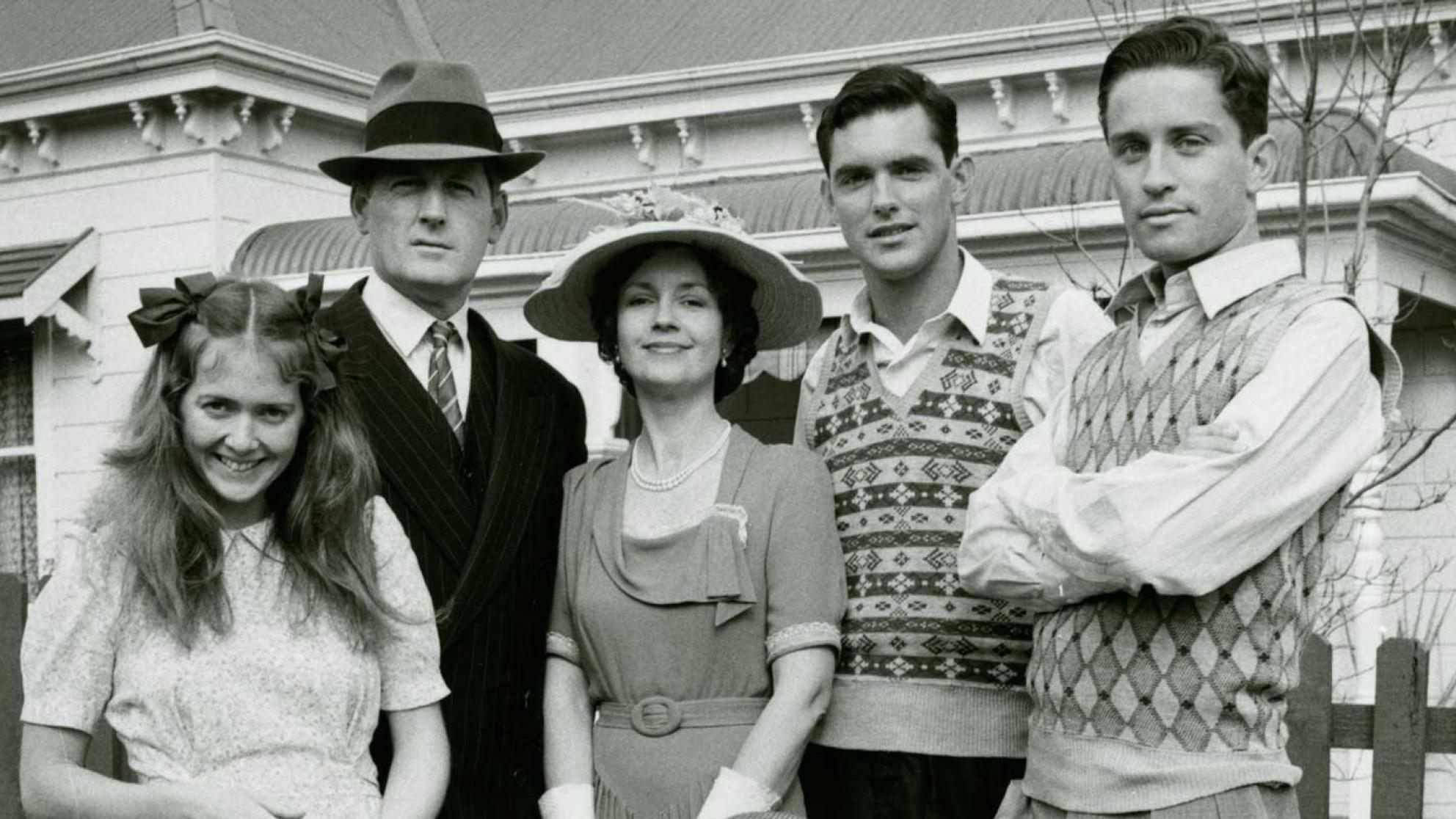 Main cast of television show The Sullivans. Susan Hannaford (Kitty), Paul Cronin (Dave), Lorraine Bayly (Grace), Andrew McFarlane (John), Steven Tandy (Tom) and Richard Morgan (Terry).
