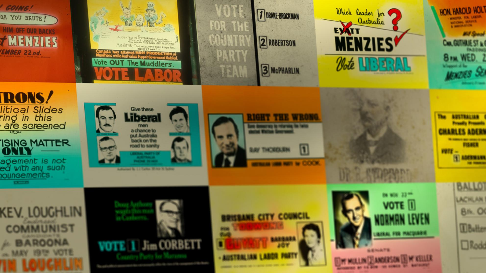 A montage of colourful glass cinema slides advertising political candidates at elections