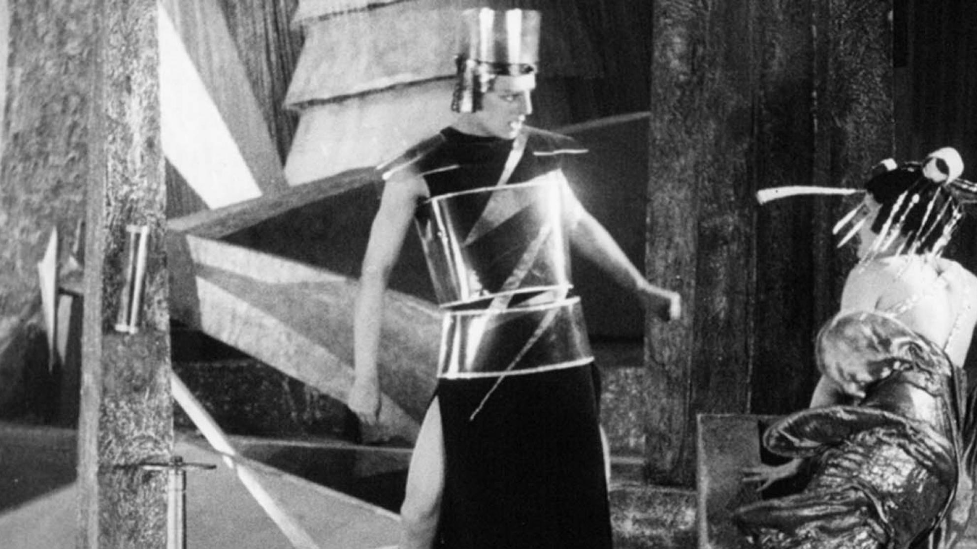 Two figures argue in a scene from the futuristic 1924 Russian science-fiction silent film Aelita, Queen of Mars