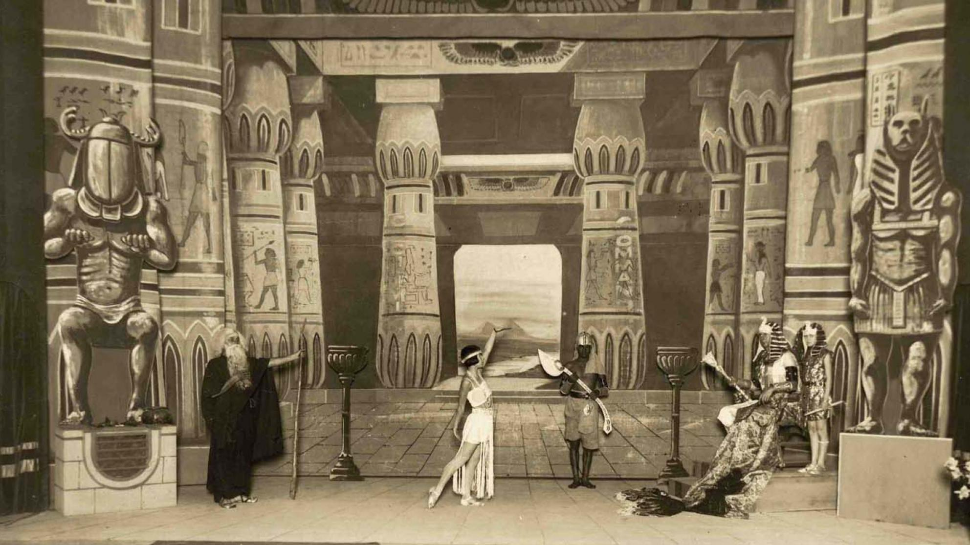 Cast members pose on stage during a prologue to a 1925 screening of The Ten Commandments in Queensland