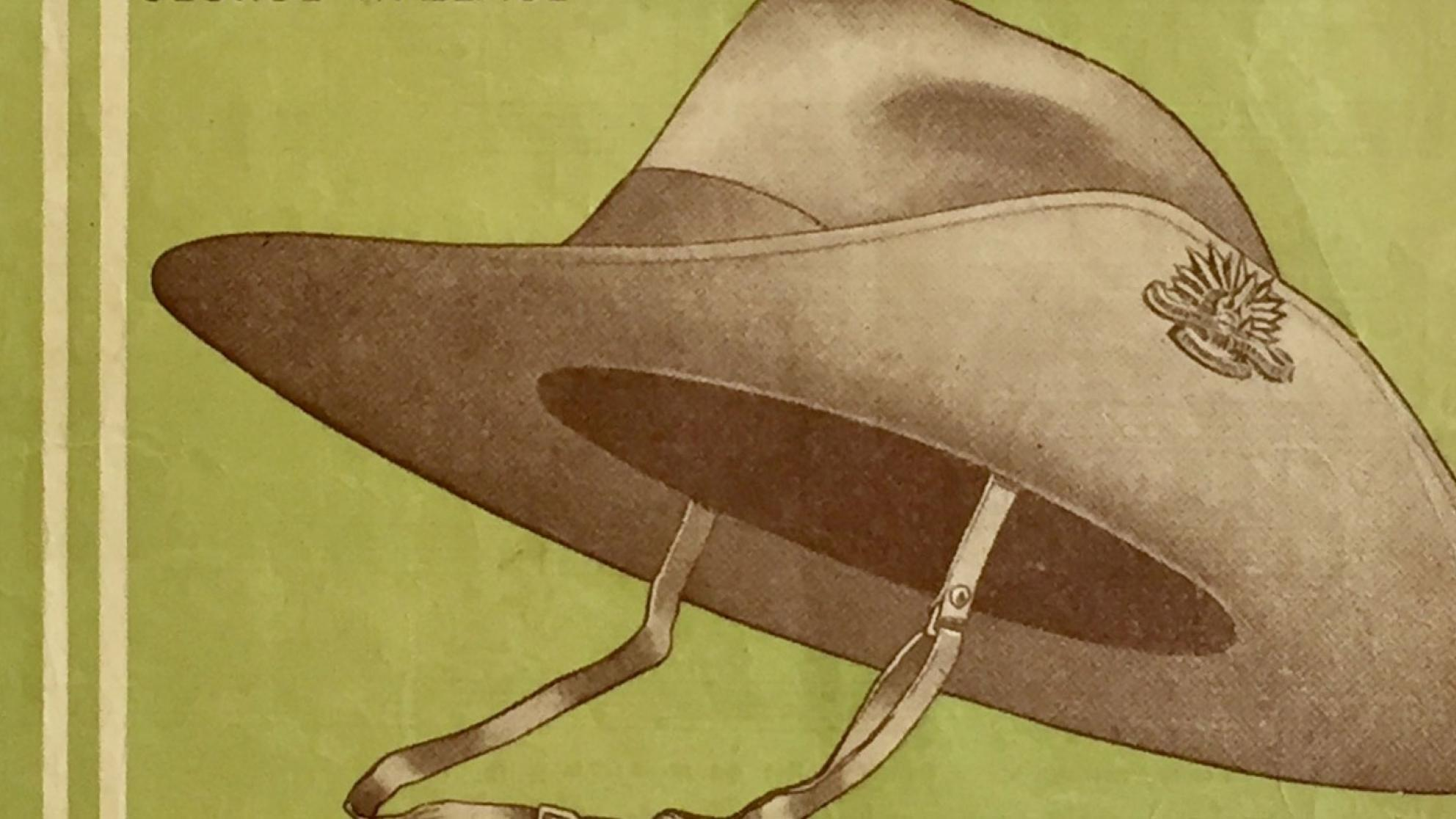 Illustration of an Australian army slouch hat on a yellow-green background.