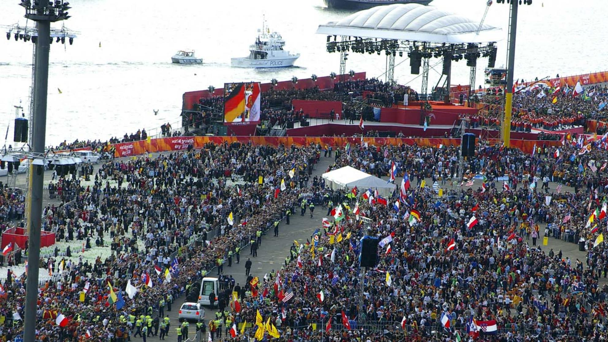 A large crowd of people at World Youth Day at Barangaroo, Sydney in July 2008.