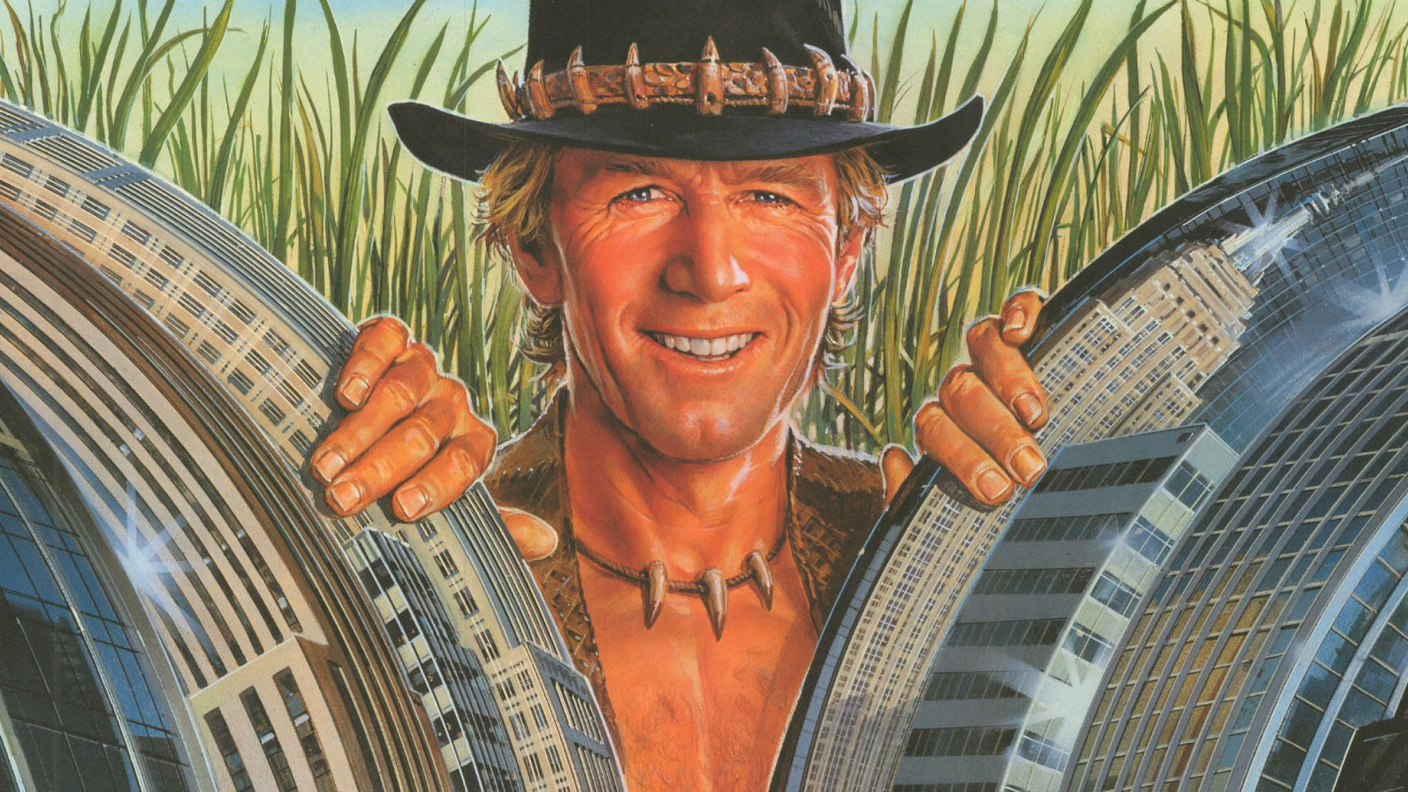 Cropped section of poster from Crocodile Dundee showing Paul Hogan smiling