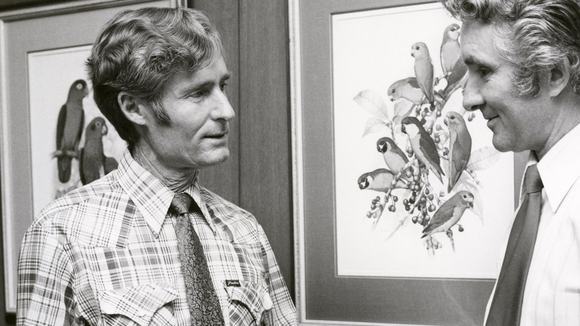 John Hutchinson with Peter Burgis of the National Library of Australia in 1980.