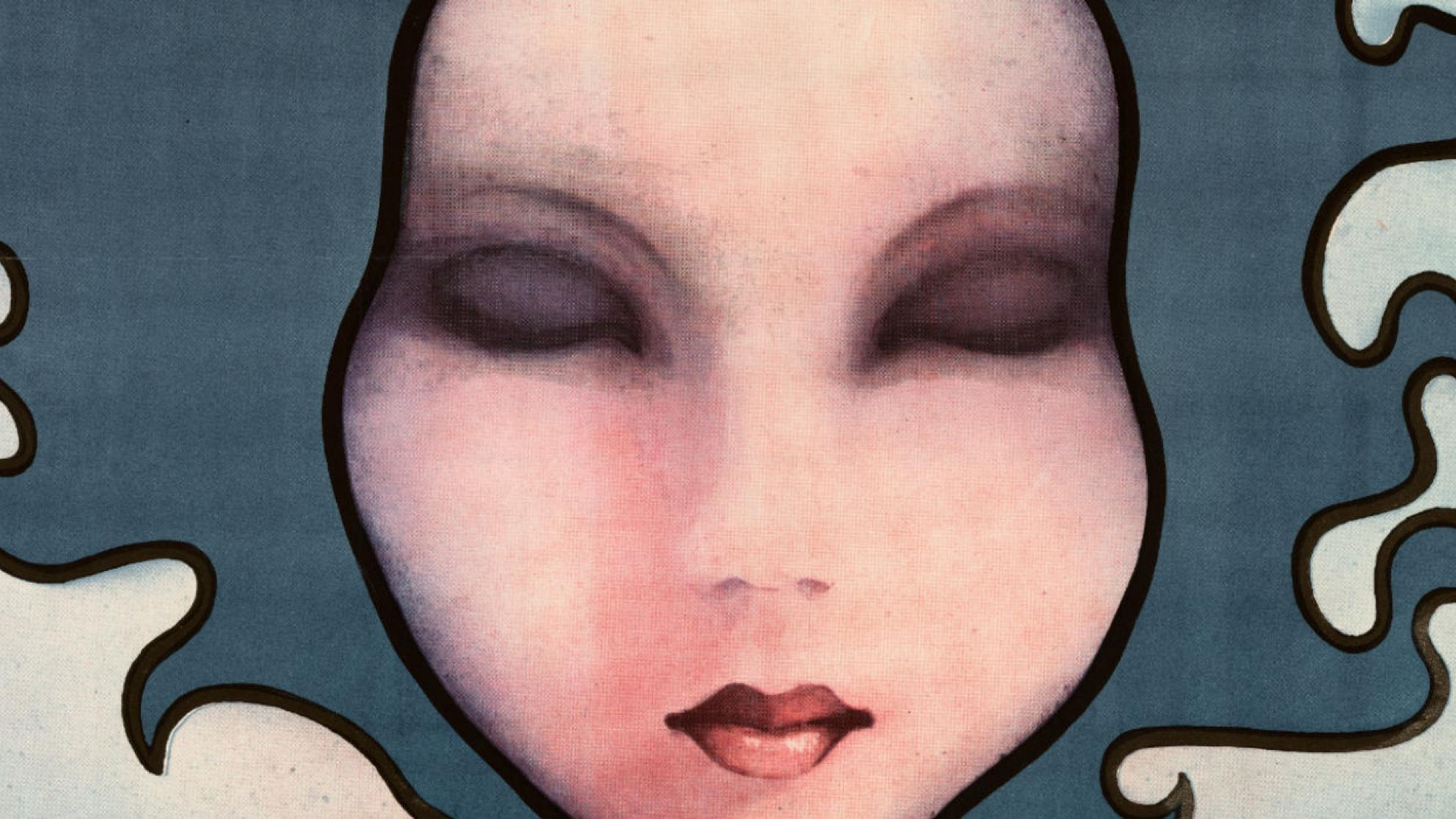 cropped Polish film poster for Picnic at Hanging Rock showing girls face with eyes closed