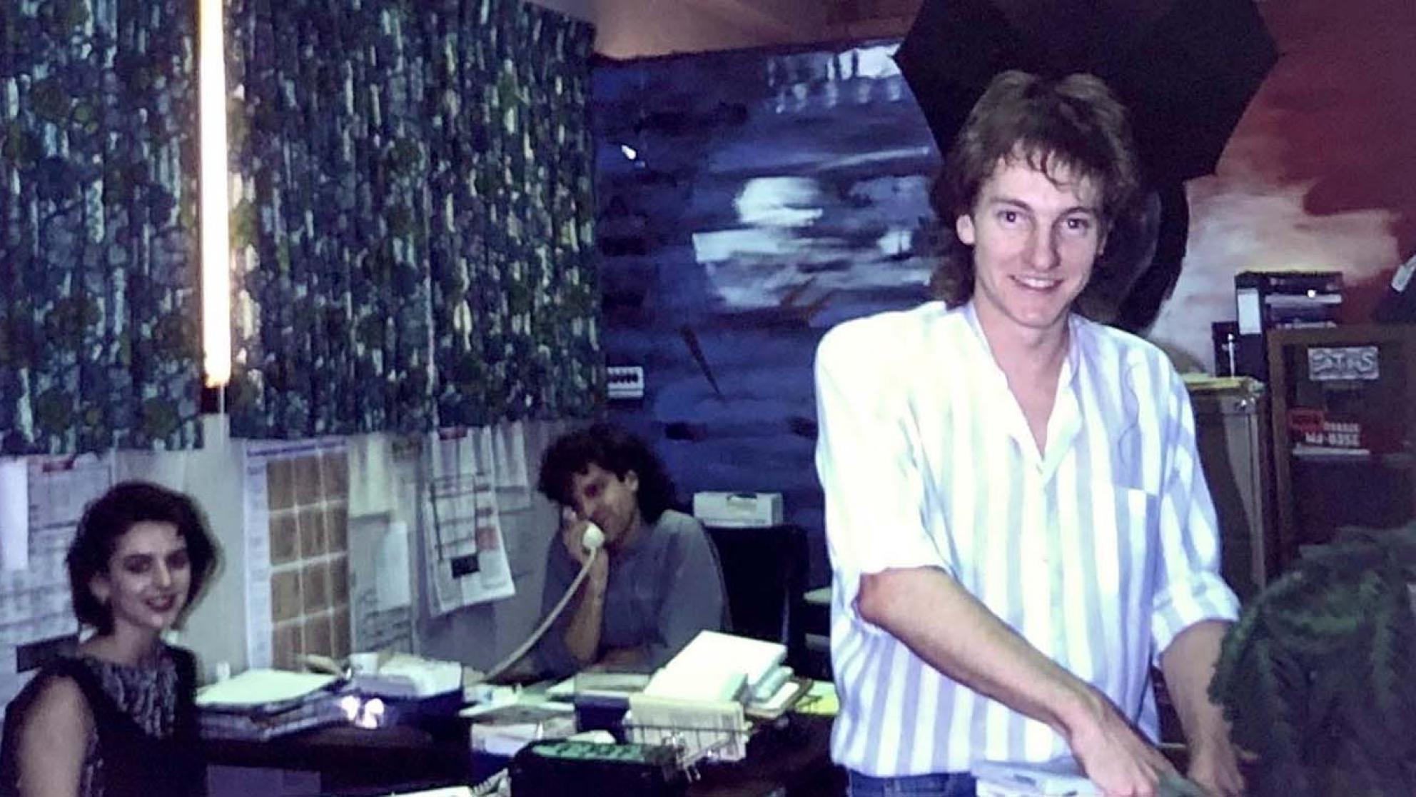 Richard Kingsmill in the office at radio station 2SER in the 1980s