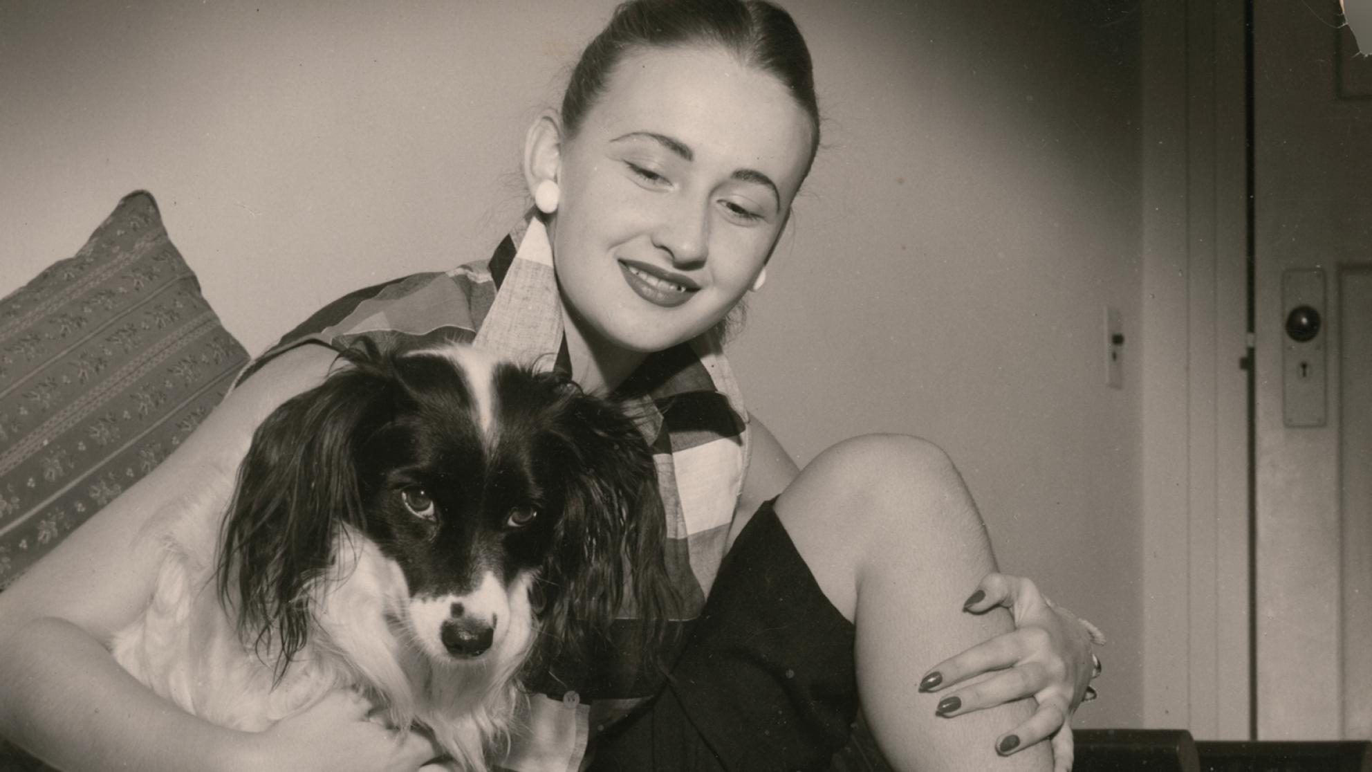 Amber Mae Cecil pictured with her dog.