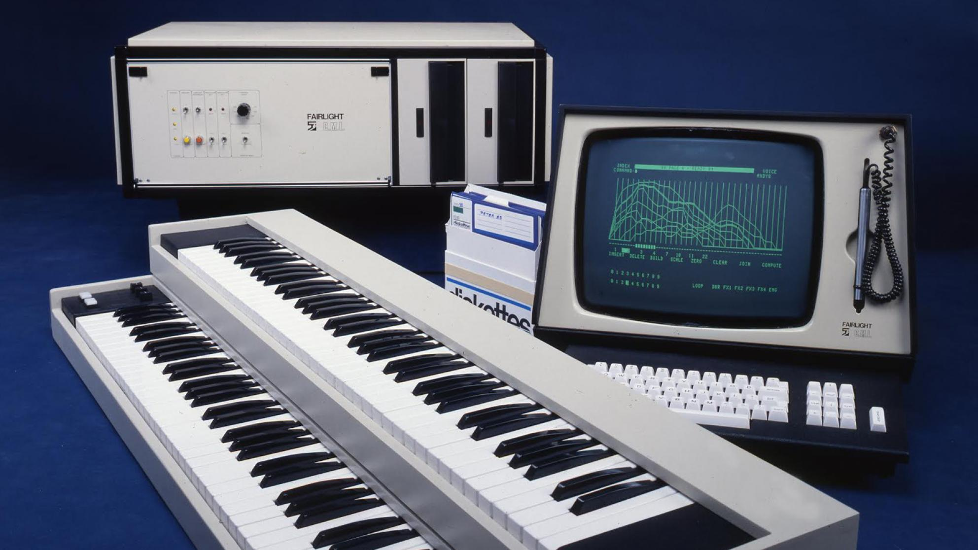 The Fairlight sampling synthesizer showing keyboard and user display monitor.