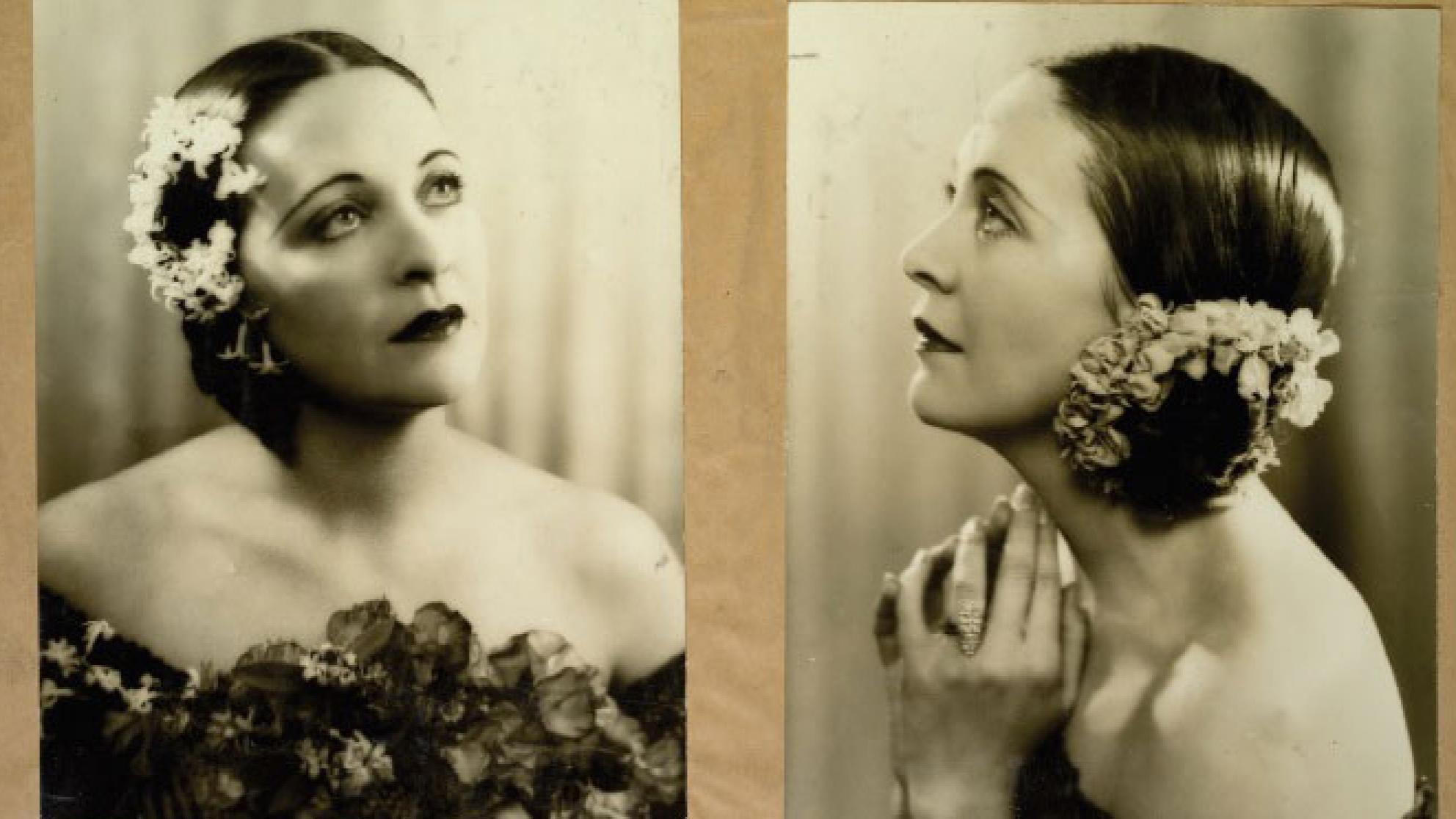 Double sepia head and shoulders portrait of a woman with flowers in her hair