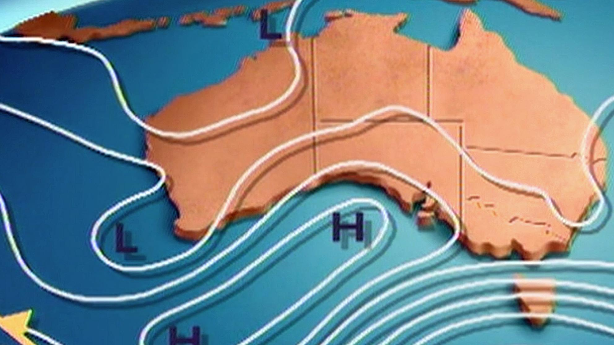 A weather map of Australia which has wavy lines and markers through it showing weather patterns.