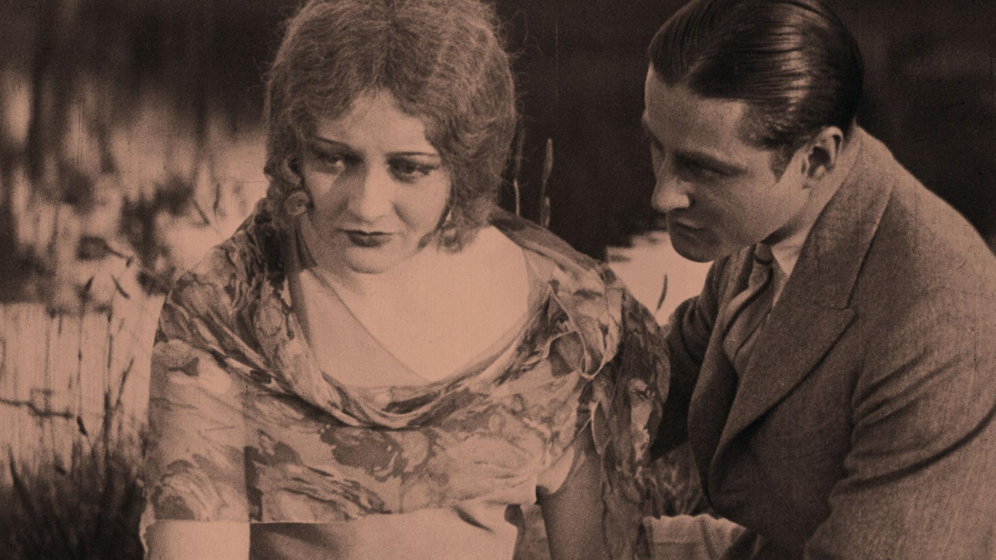 Josef Bambach tried to console Isabel McDonagh in a scene from the 1929 silent movie The Cheaters