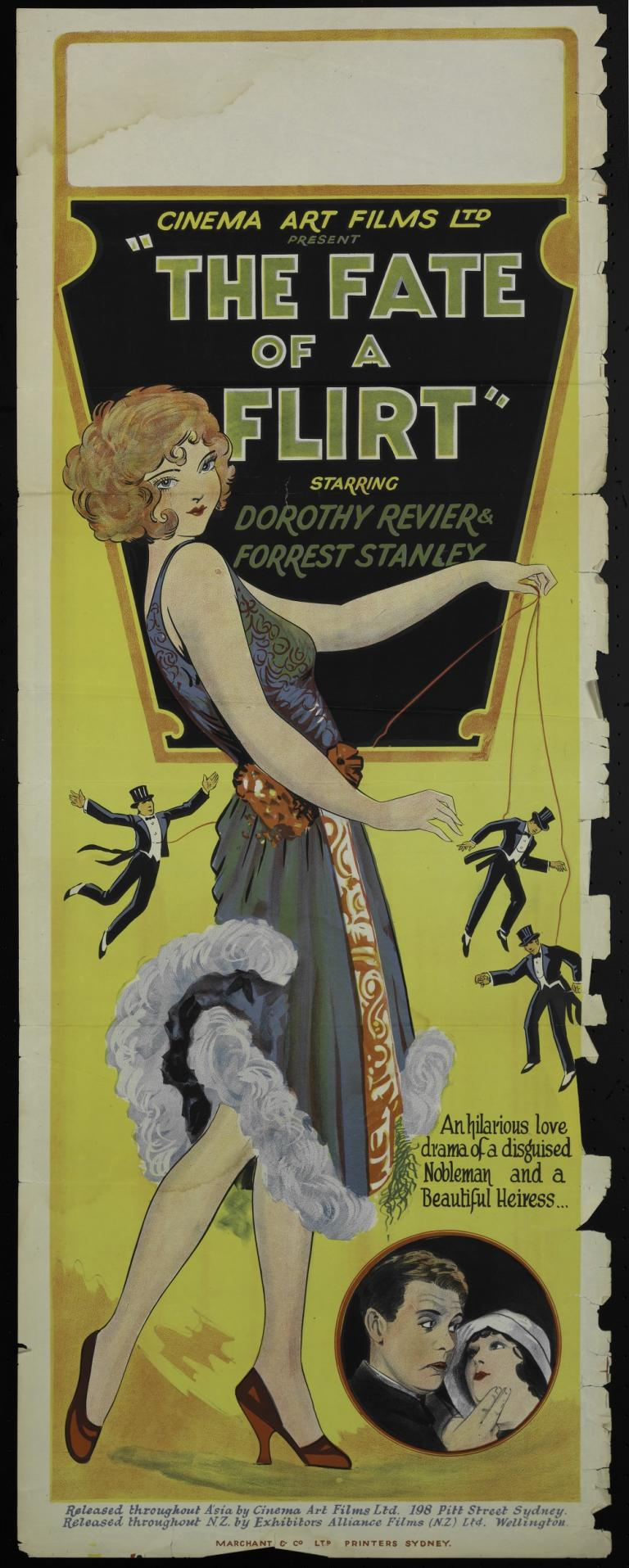 The poster features Dorothy Revier in an intricate flapper-style dress controlling three miniature gentlemen in tuxedos and top hats like marionettes, emphasising the control she yields over them.