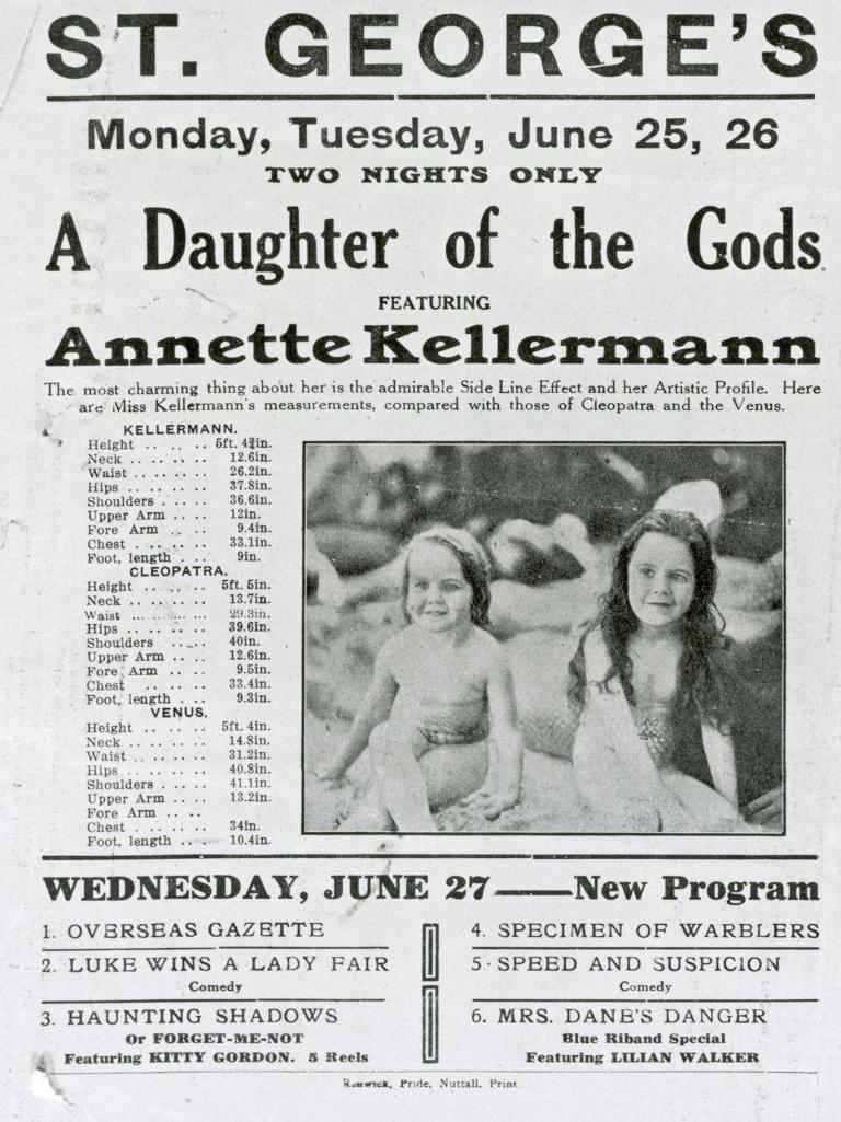 A black and white advertisement for screenings of 'A Daughter of the Gods' starring Annette Kellerman at the St George's Theatre. Includes a picture of two small children.