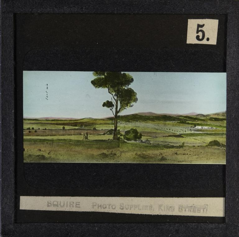 Glass slide shows the fifth of six sections of the painting titled 'Cycloramic view of Canberra capital site, view looking from Camp Hill'.
