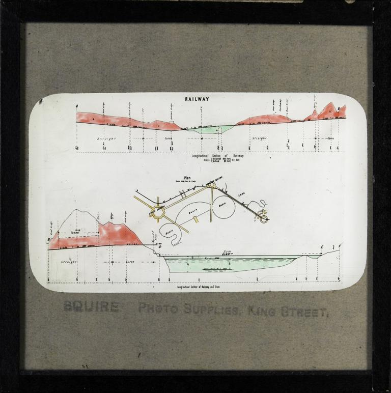Glass slide showing a plan and two longitudinal section drawings for Walter Burley Griffin's design for the proposed railway, as shown on his Preliminary Plan.