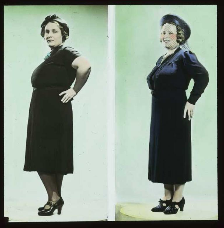 A side-by-side comparison of a woman dressed in two different dresses, shoes and hats. The slide is hand-coloured.