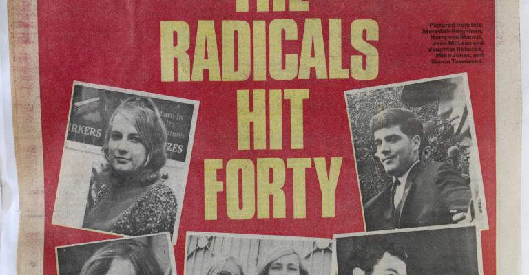 Front page of The National Times newspaper from December 1984 which has a headline that reads 'The Radicals Hit Forty'. There are a number of young men and women pictured on the front, including Simon Townsend.