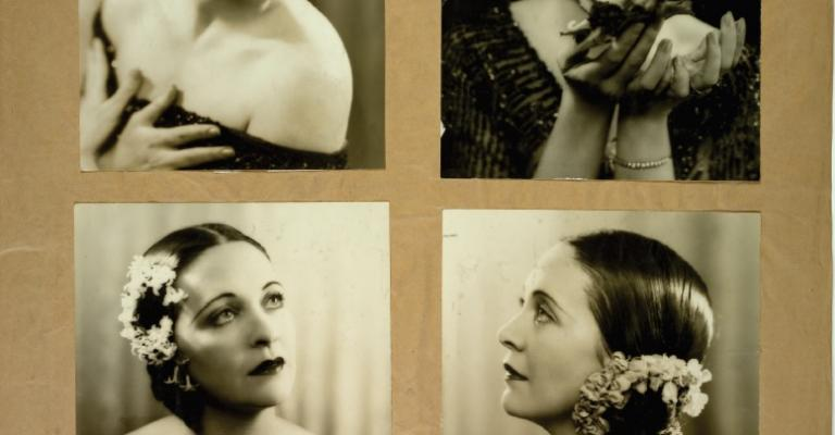 Page from a Cinesound Casting book showing 4 photographs a of young woman striking different poses