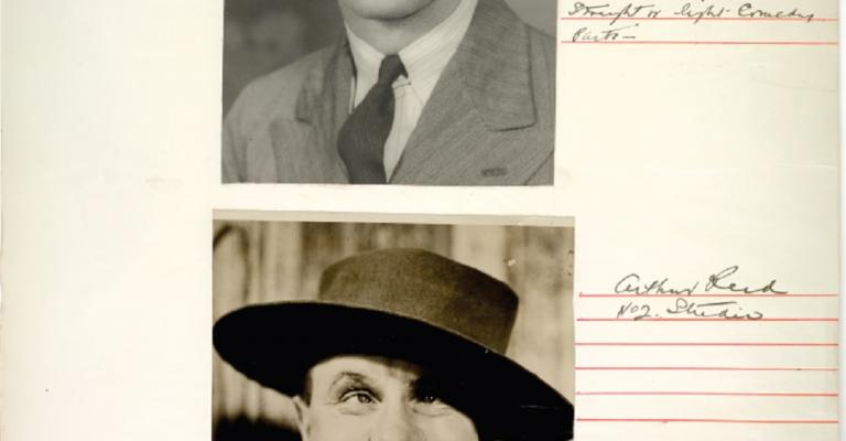 Page from a Cinesound Casting book showing 2 photographs of young men striking different poses. One is gurning at the camera.