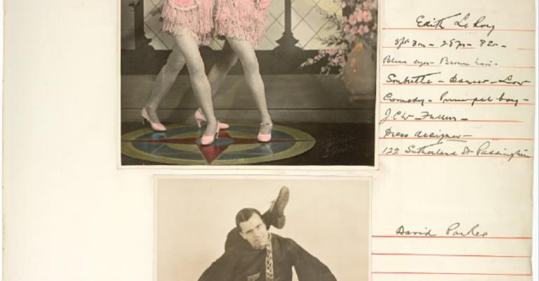 Page from a Cinesound Casting book showing 2 photographs. One of 2 girls dancing. Another of of a male contortionist